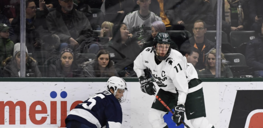 Tommy App handles the puck vs. Penn State/ Photo Credit: MSU Athletic Communications