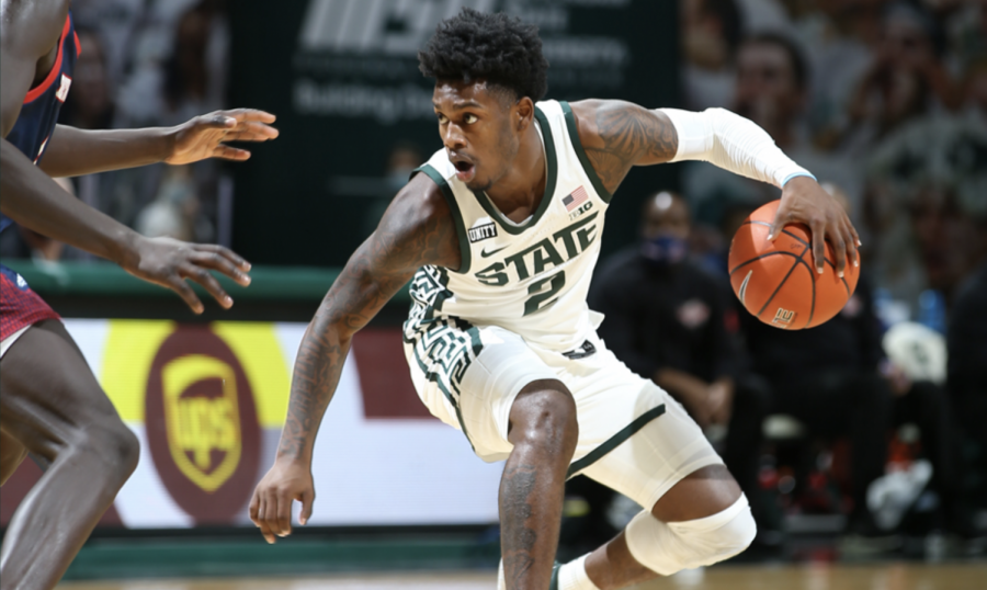 Rocket+Watts+dribbles+against+Detroit+Mercy%2F+Photo+Credit%3A+MSU+Athletic+Communications%0A