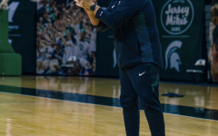 Tom Izzo cheers his team on as they practice in preparation for Oakland/ Photo Credit: MSU Athletic Communications