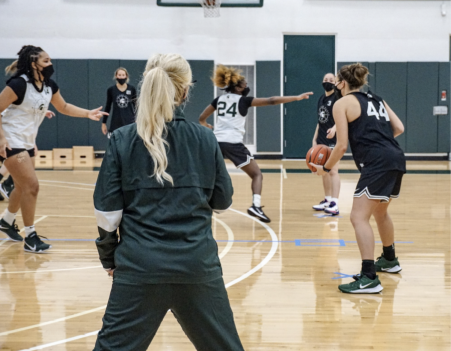 Suzy Merchant oversees practice/Photo Credit: MSU Athletic Communications