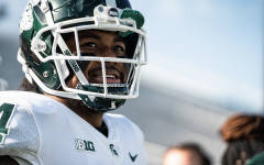 Antjuan Simmons smiles as MSU squares off against Penn State/ Photo Credit: MSU Athletic Communications