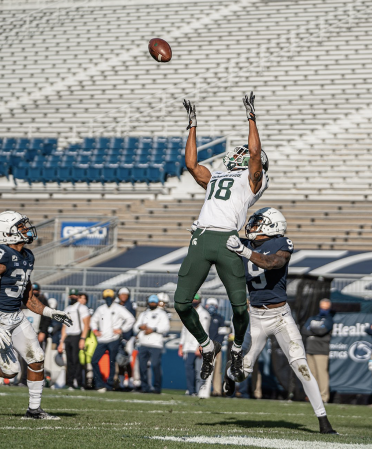 Tre%27Von+Morgan+skies+for+his+first+career+reception+and+touchdown+against+Penn+State%2F+Photo+Credit%3A+MSU+Athletic+Communications