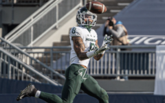 Jalen Nailor catches a 45-yard touchdown pass from Payton Thorne/ Photo Credit: MSU Athletic Communications