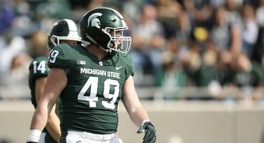 Max Rosenthal lines up during a game/ Photo Credit: MSU Athletic Communications