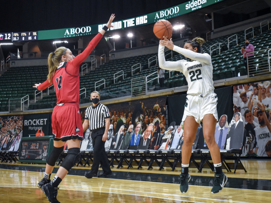 Mo Joiner attempts a 3-pointer against Northern Illinois G Errin Hodges/ Photo Credit: MSU Athletic Communications