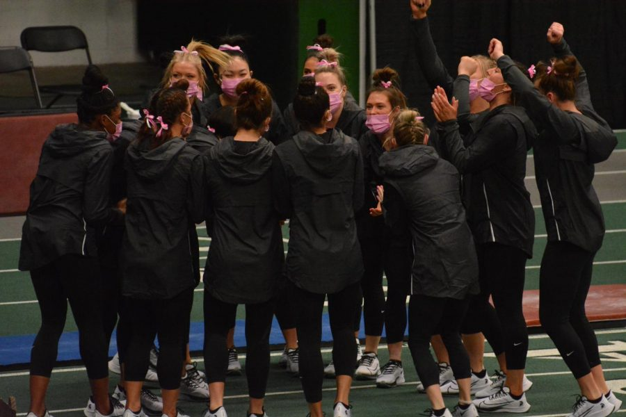Members of the Michigan State gymnastics team celebrate during the Jan Howard Breast Cancer Awareness Pink Meet on Jan. 30, 2021/Photo: Chase Goff (WDBM)
