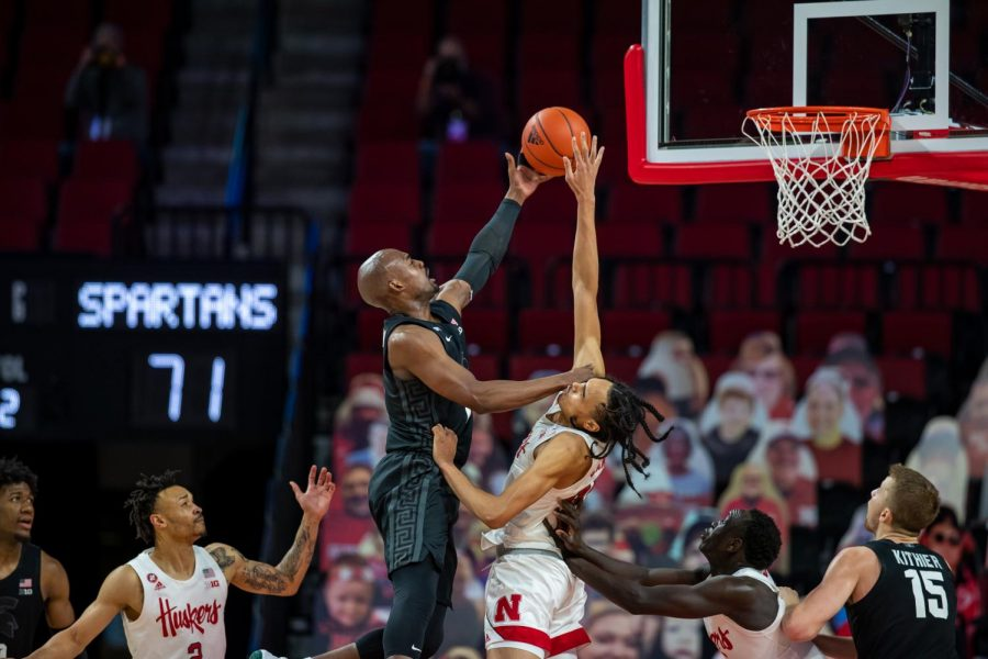 Joshua+Langford+drives+to+the+basket+against+Nebraska%2F+Photo+Credit%3A+Nebraska+Athletics