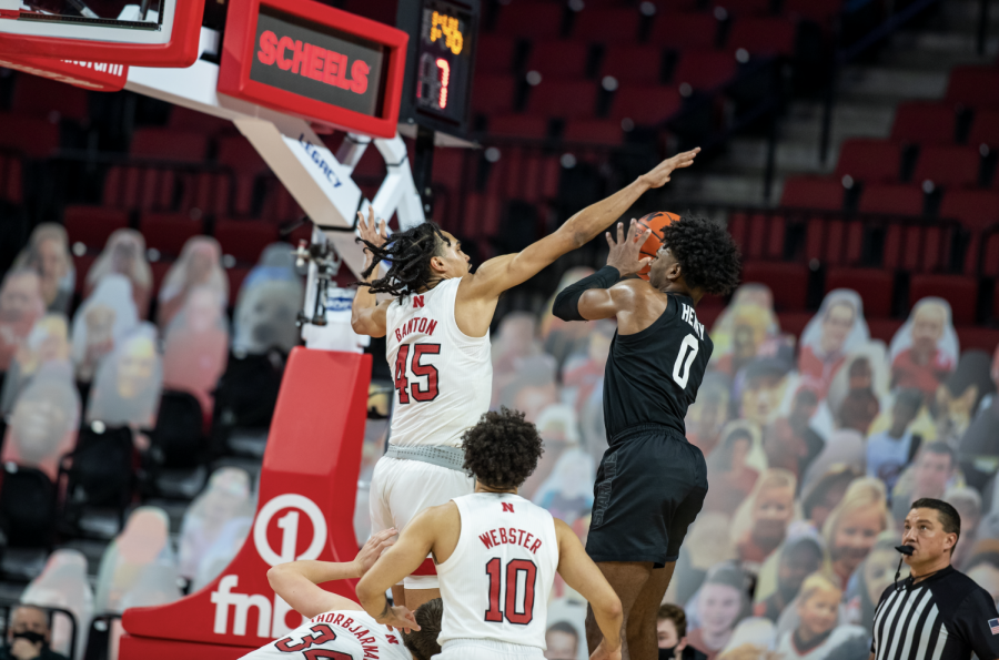 Aaron Henry attempts a floater against Nebraska F Dalano Banton/ Photo Credit: Nebraska Athletics