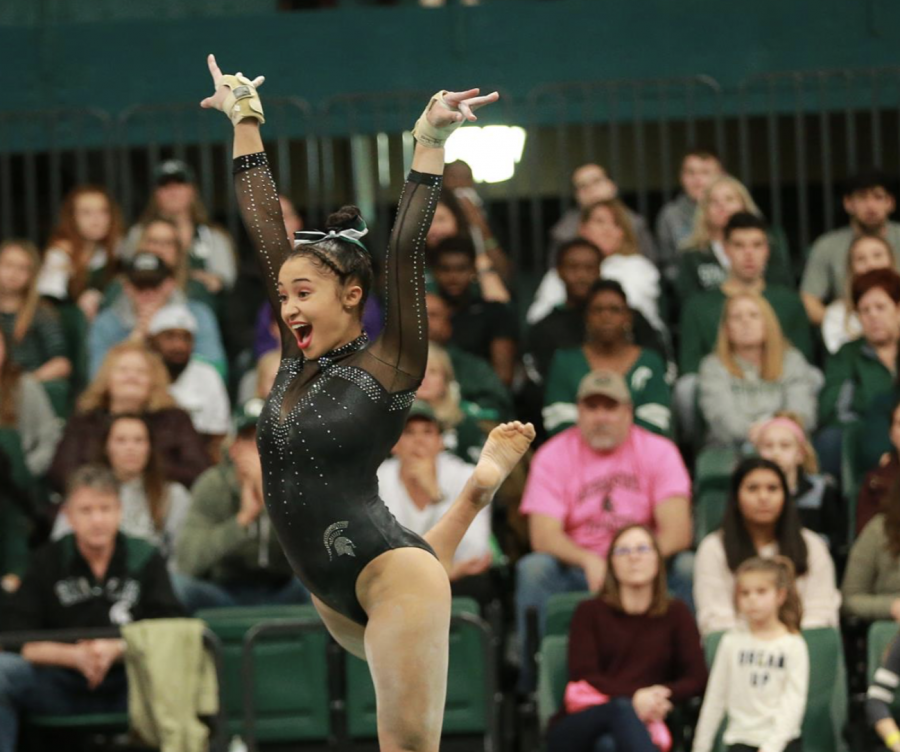 MSU gymnastics co-captain Lia Mitchell competes during a meet/ Photo Credit: MSU Athletic Communications