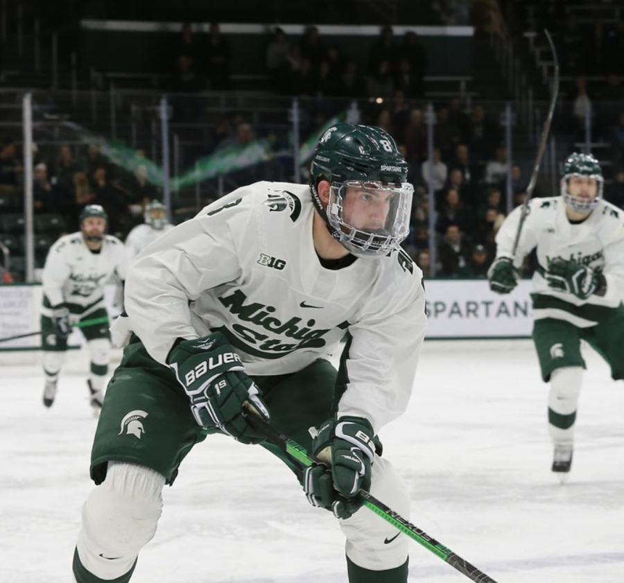 MSU defenseman Cole Krygier prepares for a faceoff/ Photo Credit: MSU Athletic Communications