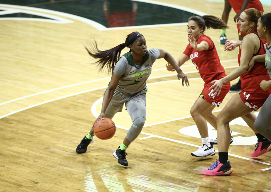 Mardrekia Cook drives along the elbow in the Spartans' narrow 93-87 loss to No. 12 Maryland/ Photo Credit: MSU Athletic Communications