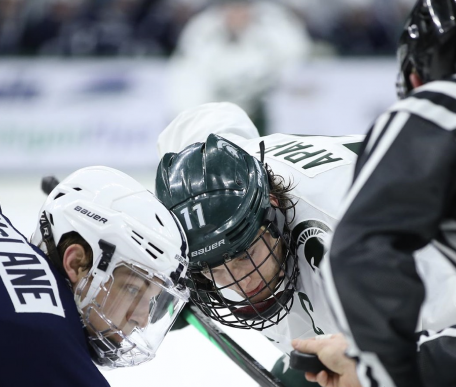 Tommy Apap prepares for a face-off chance against Penn State F Chase McLane/ Photo Credit: MSU Athletic Communications