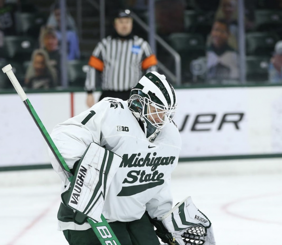 MSU goaltender Drew DeRidder makes a save during a game/Photo Credit: MSU Athletic Communications