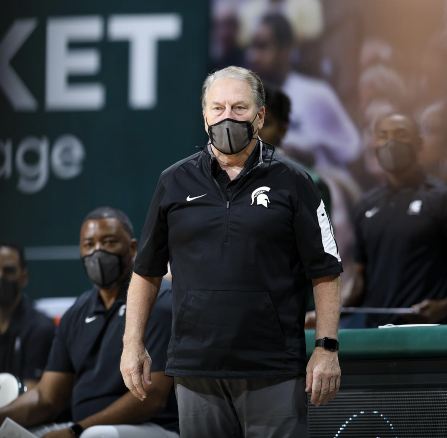 Tom Izzo observes his team during a game/Photo Credit: MSU Athletic Communications