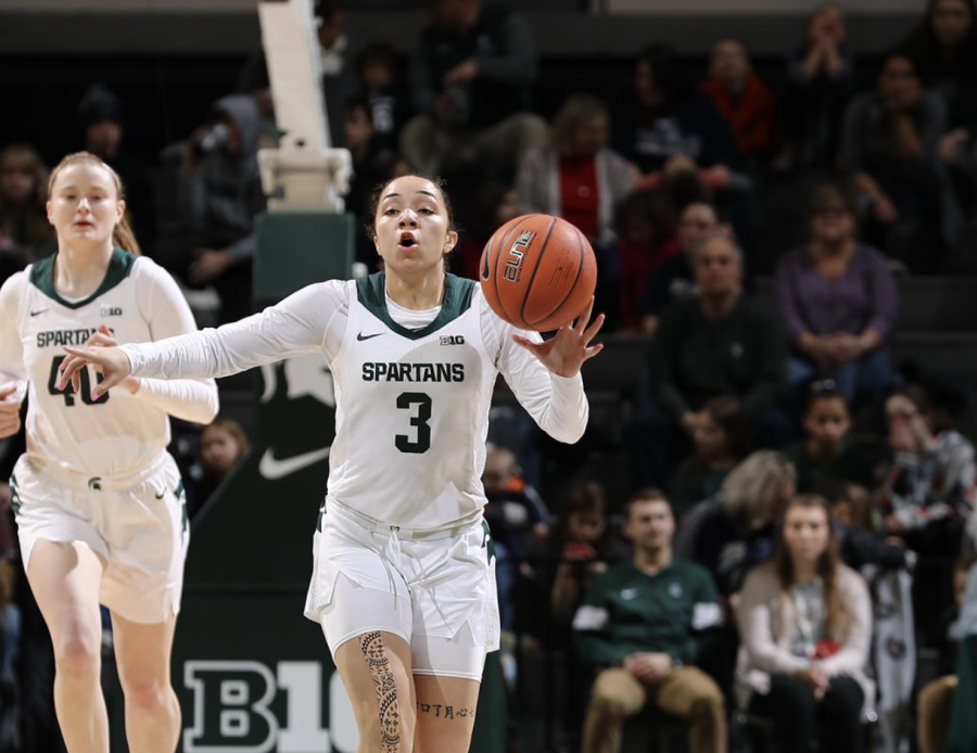 Alyza Winston directs traffic at the point/ Photo Credit: MSU Athletic Communications