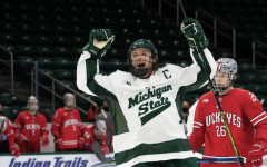 Tommy Apap celebrates after scoring the opening goal in the Spartans' 2-0 home win over Ohio State/Photo Credit: MSU Athletic Communications