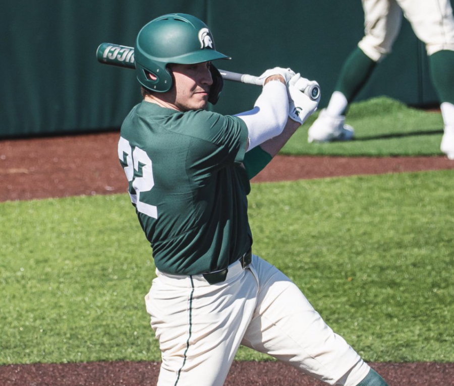 MSU infielder Bailey Peterson swings during a game/ Photo Credit: MSU Athletic Communications