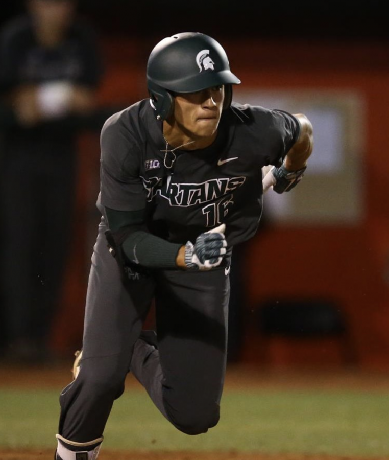 MSU infielder Peter Ahn runs out of the batters box/Photo Credit: MSU Athletic Communications