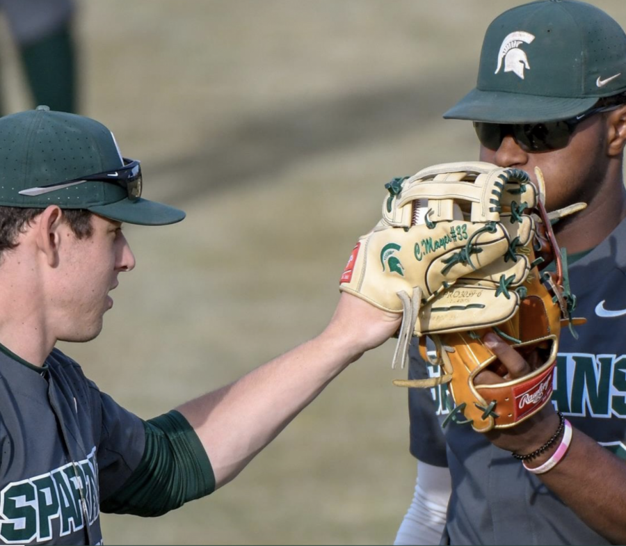MSU outfielder Casey Mayes with teammate Zaid Walker/ Photo Credit: MSU Athletic Communications