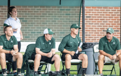 MSU head coach Damon Rensing (far right) sits next to his coaching staff/ Photo Credit: MSU Athletic Communications