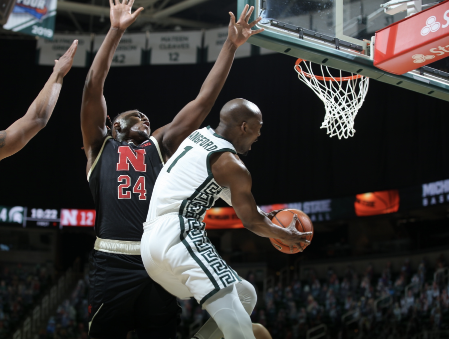 Joshua Langford attempts a pass in the Spartans' 66-56 home win over Nebraska/ Photo Credit: MSU Athletic Communications