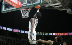 Gabe Brown skies for a powerful dunk in the Spartans' home win against Nebraska/ Photo Credit: MSU Athletic Communications