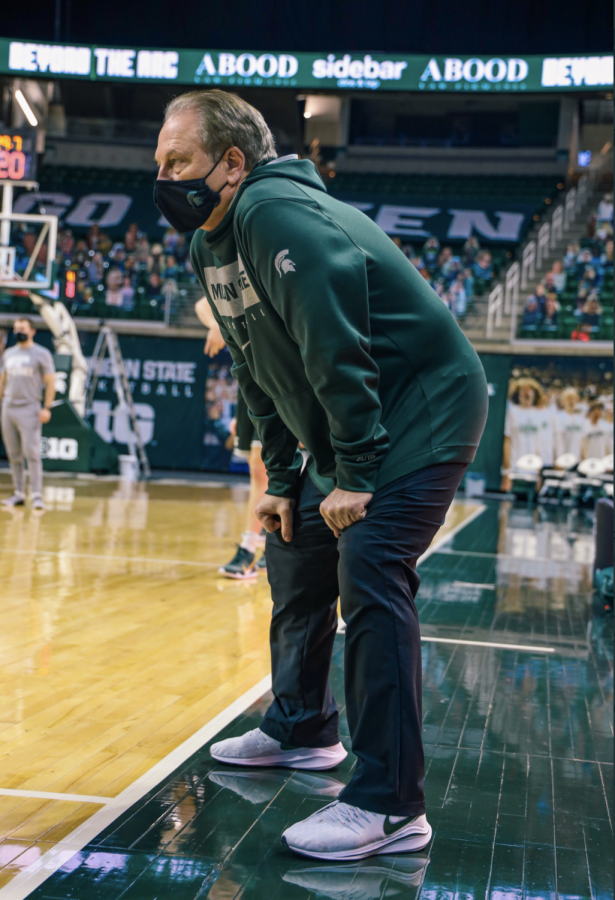 Tom+Izzo+watches+warmups+before+his+team+faces+off+against+Penn+State%2F+Photo+Credit%3A+MSU+Athletic+Communications%0A%0A