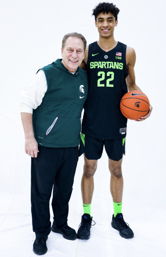 Max Christie and Tom Izzo/ Photo Credit: MSU Athletic Communications