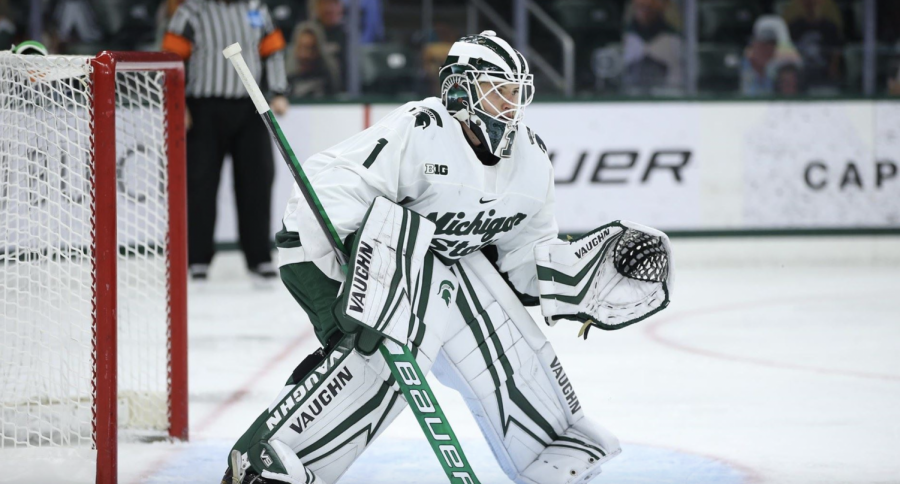 MSU goaltender Drew DeRidder/ Photo Credit: MSU Athletic Communications