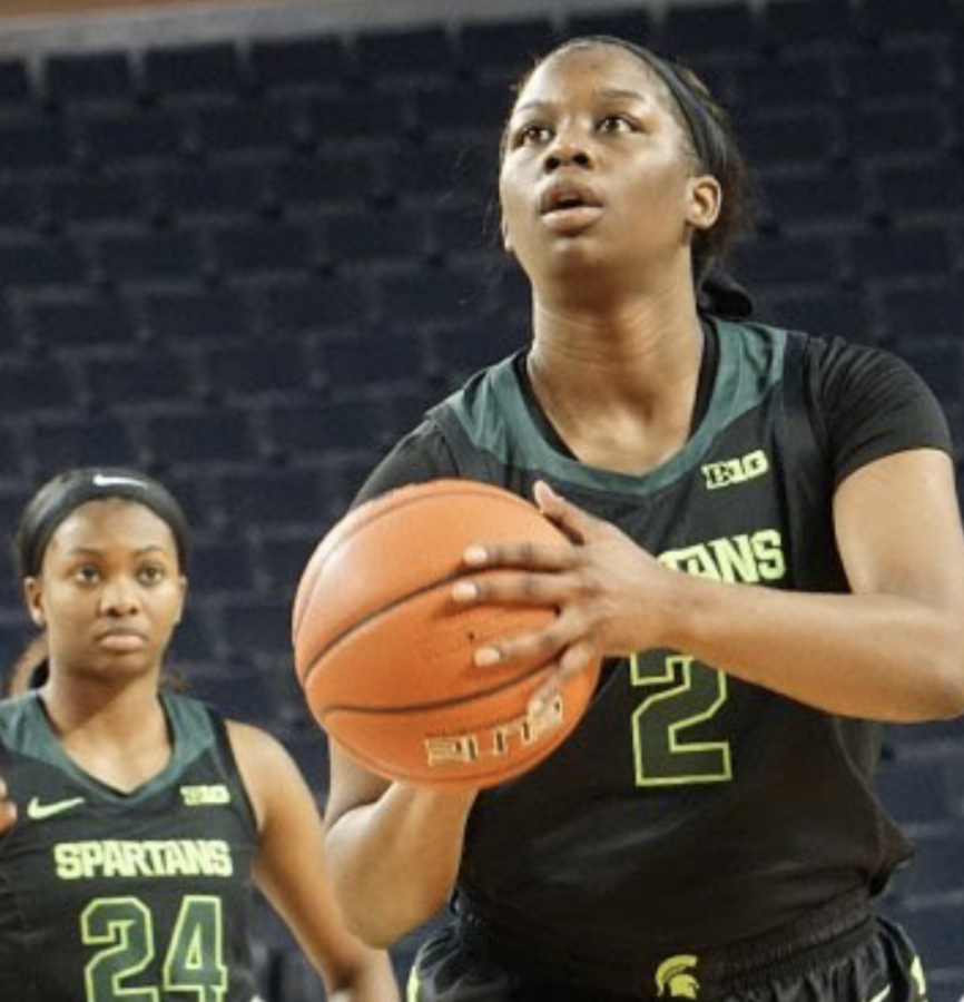 Mardrekia+Cook+attempts+a+free+throw+in+the+Spartans%27+86-82+road+loss+to+No.+11+Michigan%2F+Photo+Credit%3A+MSU+Athletic+Communications%0A%0A%0A%0A