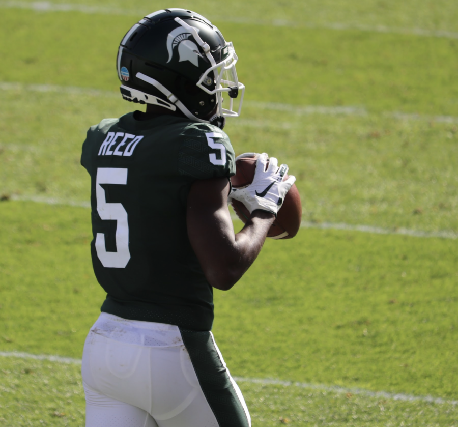 MSU wide receiver Jayden Reed warms up before MSU takes on Rutgers on Oct. 21, 2020/ Photo Credit: Ian Gilmour/ WDBM