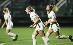 Gia Wahlberg celebrates after scoring a goal/ Photo Credit: MSU Athletic Communications