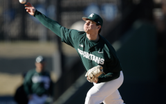 MSU pitcher Sam Benschoter delivers a pitch during a game/ Photo Credit: MSU Athletic Communications