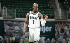 MSU guard Joshua Langford celebrates after hitting a jumper against No. 5 Illinois/ Photo Credit: MSU Athletic Communications