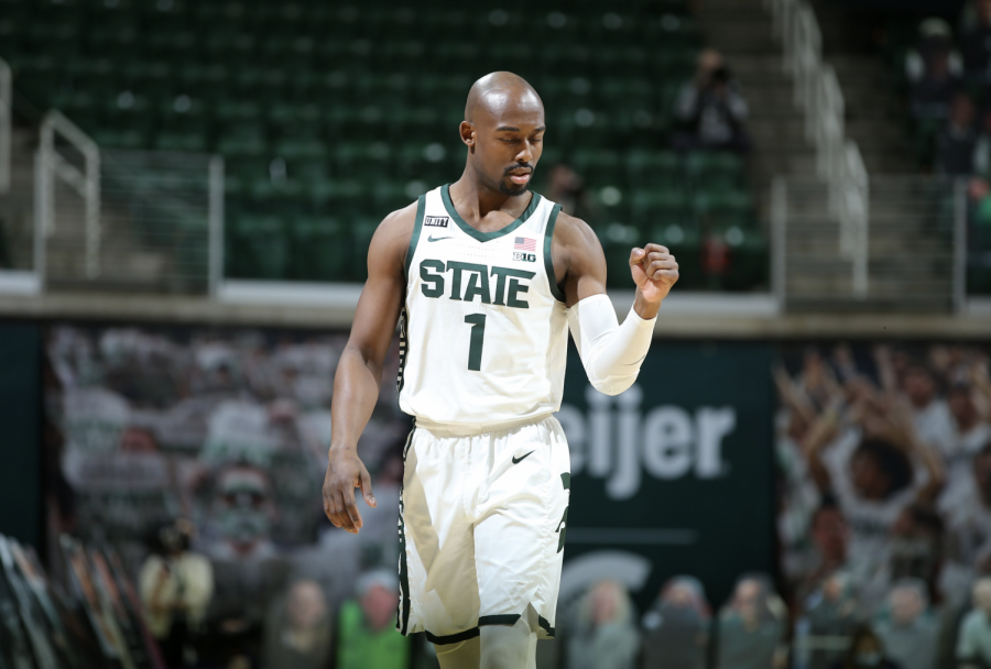MSU+guard+Joshua+Langford+celebrates+after+hitting+a+jumper+against+No.+5+Illinois%2F+Photo+Credit%3A+MSU+Athletic+Communications%0D%0A%0D%0A