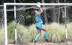 MSU goaltender Lauren Kozal makes a save/ Photo Credit: MSU Athletic Communications