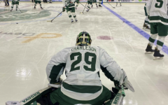 MSU goaltender Pierce Charleson warms up before his first career start/ Photo Credit: MSU Athletic Communications
