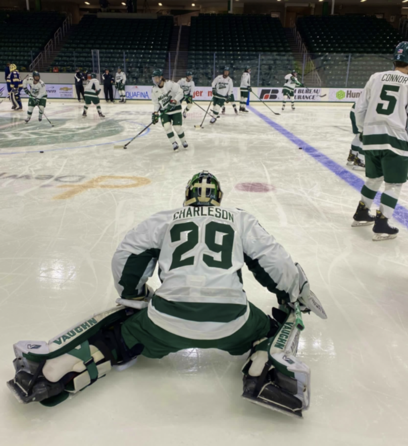 MSU+goaltender+Pierce+Charleson+warms+up+before+his+first+career+start%2F+Photo+Credit%3A+MSU+Athletic+Communications+%0A%0A