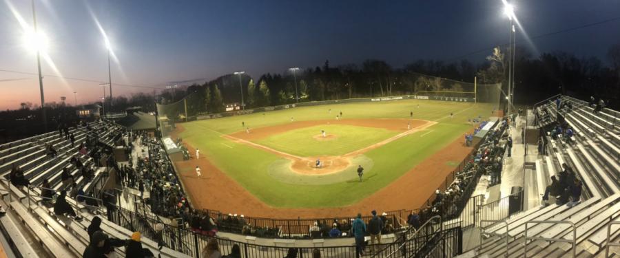 McLane Baseball Stadium at night/ Photo Credit: Kyle Hatty/WDBM