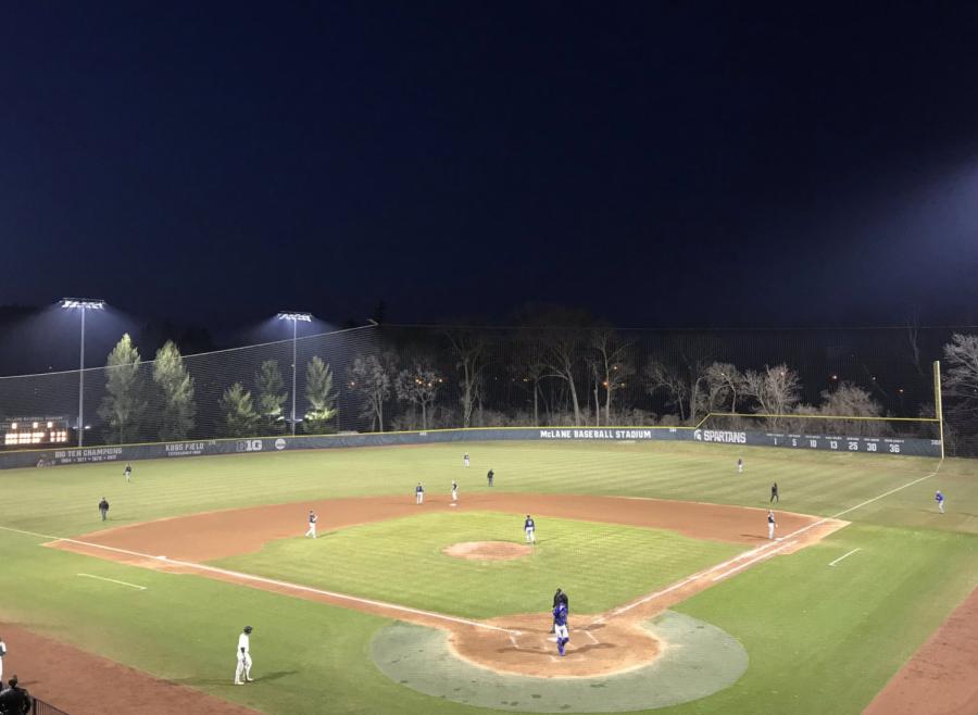 McLane Baseball Stadium at night/ Photo Credit: Luke Sloan/WDBM