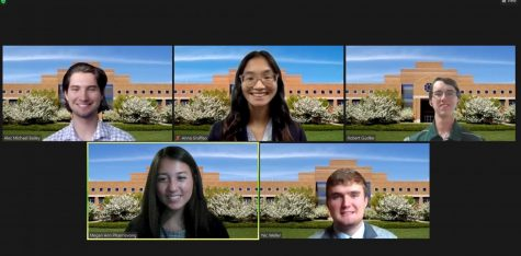 Screenshot of Zoom panels of headshots of Alec Bailey, Anna Graffeo and Robert Gustke on the first line. Second line has Megan Phanrisvong and Nic Weller.