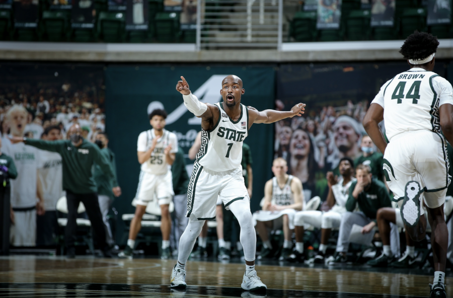 MSU guard Joshua Langford directs traffic in the Spartans' 64-58 home win over Indiana/ Photo Credit: MSU Athletic Communications