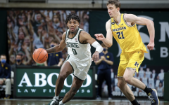 Aaron Henry drives on Franz Wagner in a game against Michigan/ Photo Credit: MSU Athletic Communications