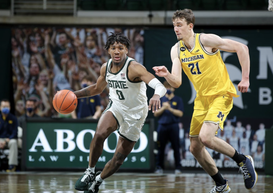 Aaron+Henry+drives+on+Franz+Wagner+in+a+game+against+Michigan%2F+Photo+Credit%3A+MSU+Athletic+Communications