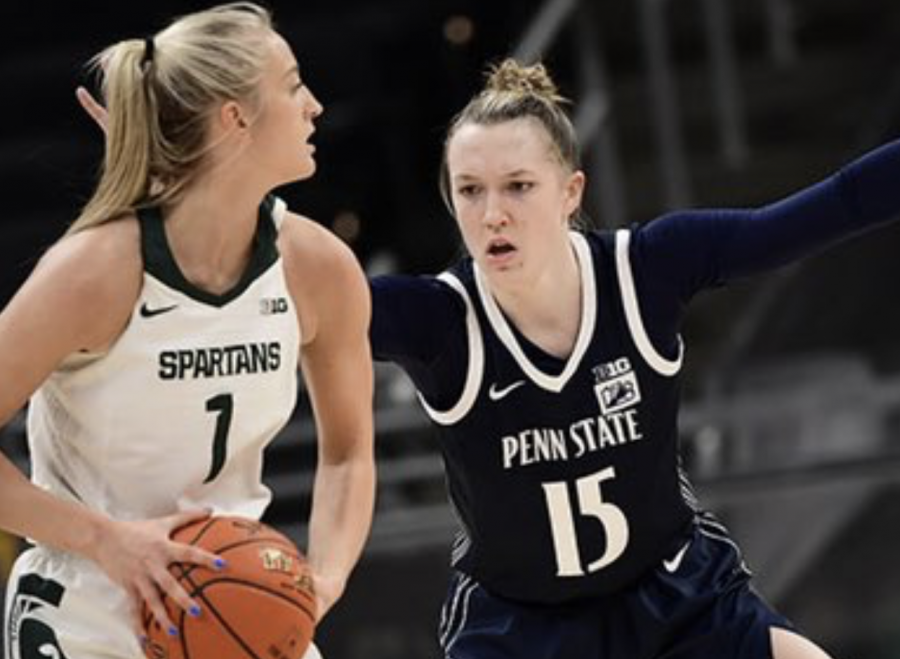Tory Ozment looks for an open teammate as Penn State guard Maddie Burke guards her/ Photo Credit: MSU Athletic Communications
