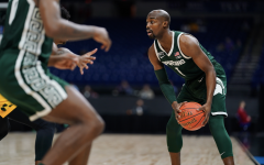 MSU guard Joshua Langford looks for an open teammate in the Spartans' 68-57 loss to Maryland in the first round of the Big Ten tournament/ Photo Credit: MSU Athletic Communications