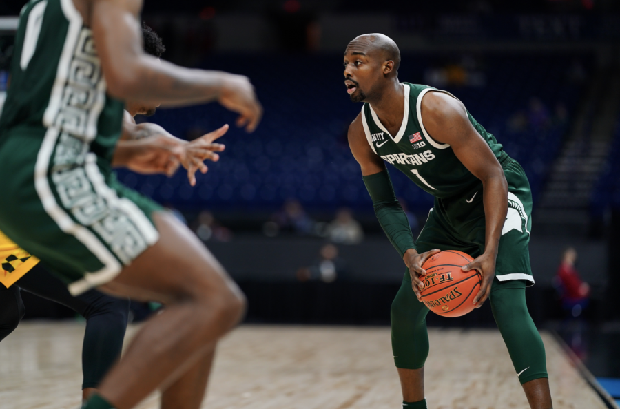 MSU guard Joshua Langford looks for an open teammate in the Spartans 68-57 loss to Maryland in the first round of the Big Ten tournament/ Photo Credit: MSU Athletic Communications