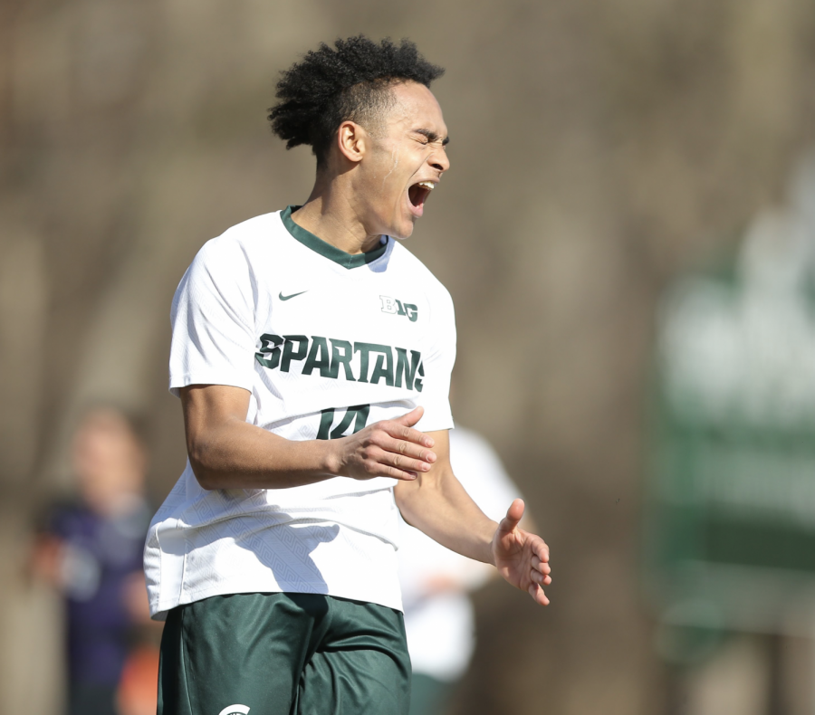 MSU defender Olu Ogunwale celebrates after MSU defeats Northwestern 2-0/ Photo Credit: MSU Athletic Communications