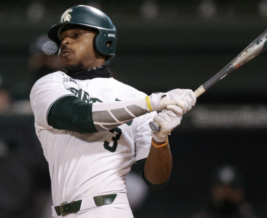 MSU+outfielder+Zaid+Walker+swings+at+a+pitch+during+a+game%2F+Photo+Credit%3A+Jeremy+Fleming%2FMSU+Athletic+Communications+%0A