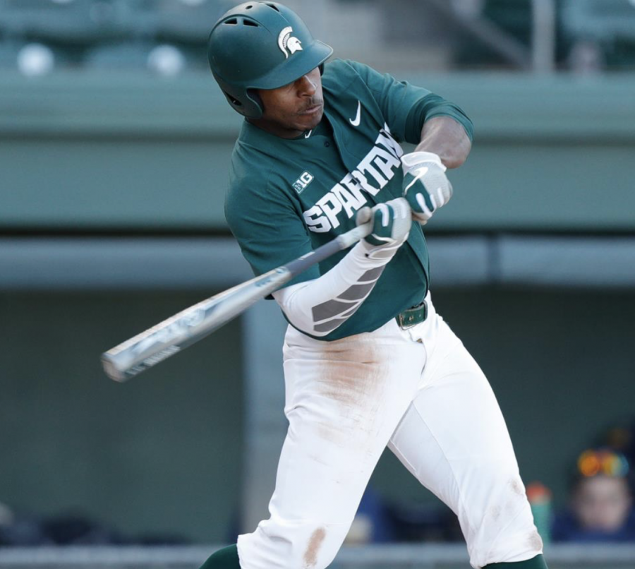 MSU outfielder Zaid Walker swings at a pitch during a game/ Photo Credit: Jeremy Fleming/MSU Athletic  Communications
